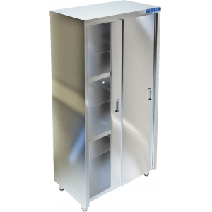 Шкаф кухонный, 1200х500х1750мм, 2 двери-купе, 3 полки сплошные, нерж.сталь 430, сварной, задняя стенка из нержавеющей стали 430
