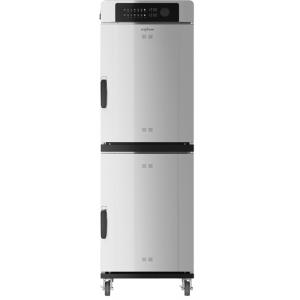Печь-коптильня электрическая напольная, 2 камеры 7х(457х660), 2х76л, электронное упр., 2 двери глухие, 4 полки-решётки, нерж.сталь, 2 щупа, колеса