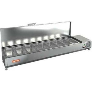 Витрина холодильная настольная, горизонтальная, для топпингов, L1.97м, 9GN1/3, +2/+7С, стат.охл., крышка нерж.сталь, ножки