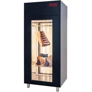 Шкаф для созревания мяса,  800л, 1 дверь стекло, 4 полки, ножки, 0/+4C, дин.охл., 4 пары направляющих, черный, задняя стенка стекло