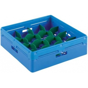 Корзина посудомоечная для стаканов, 500х500мм, пластик синий, вместимость 16 стаканов H120мм