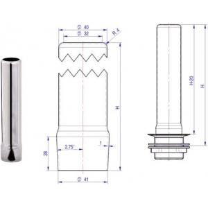 Трубка переливная для ванны моечной, h300мм
