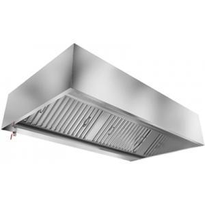 Зонт вытяжной пристенный, 1500х1200х400мм, лаб.фильтры, коробчатый, нерж.сталь, подсветка, без отверстия