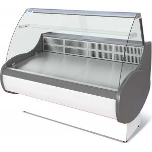 Витрина холодильная напольная, горизонтальная, L1.48м, 0/+7С, стат.охл., без щитков, стекло фронтальное гнутое