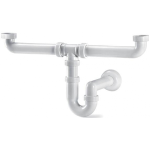 Сифон для ванны моечной на две раковины, пластик, B 1 1/2''x50