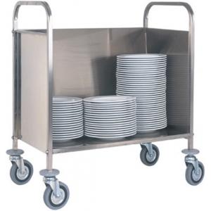 Тележка транспортировочная для тарелок, 200шт., каркас нерж.сталь, горизонтальное хранение, закрытая с 3-х сторон