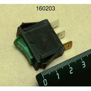Выключатель однополюсный зеленый 16A 250V