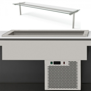 Ванна холодильная встраиваемая, L0.76м, 2GN1/1-150, -8/+5С, стат.охл., нерж.сталь, центральная полка, выносной пульт упр.