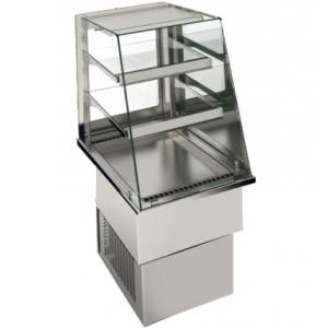 Витрина холодильная встраиваемая, для самообслуживания, L0.60м, 2 полки, +5/+10С, дин.охл., нерж.сталь, фронт открытый наклонный, LED подсветка, выпар