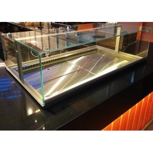 Витрина холодильная встраиваемая, горизонтальная, кондитерская, L0.74м, +4/+8С, дин.охл., нерж.сталь, стеклянный куб, подсветка