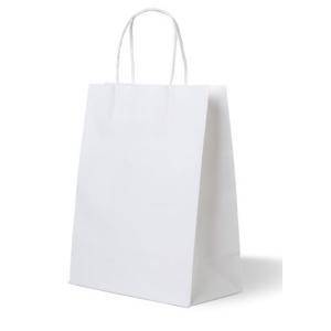 Пакет бумажный 350х260х150мм с крученой ручкой прямоугольное дно белый