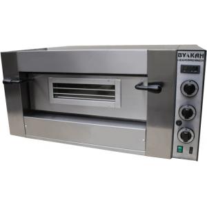 Печь для пиццы газовая, подовая, 1 камера   620х620х155мм, 4 пиццы D300мм, электромех.управление, дверь стекло, под камень, баллонный газ