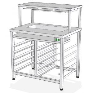 СФ-100Т – стол фасовочный пристенный с нейтр ванной и тепловой пов.