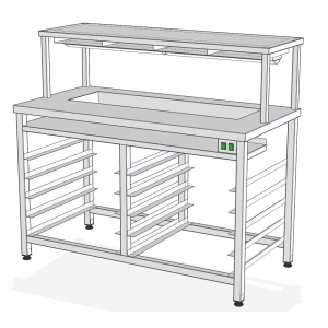 СФ-140Т – стол фасовочный пристенный с нейтр ванной и тепловой пов.