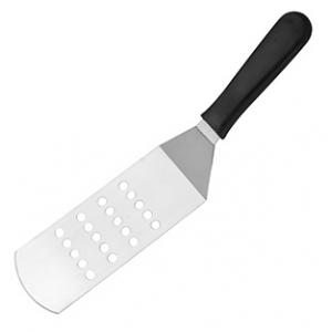 Лопатка изогнутая перфорированная L 22см с пластиковой ручкой, нерж. сталь