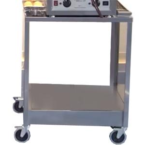 Подставка под печь-коптильню КР-7.90 и КР-7.150,  820х650х600мм, без борта, закрытая с 2-х сторон, 1 полка сплошная, колеса