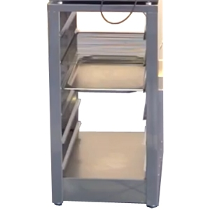 Подставка под печь-коптильню КР-7.90 и КР-7.150, 820х420х600мм, без борта, закрытая с 2-х сторон, 1 полка сплошная, ножки, 6 пар направ.под GN1/1