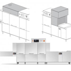 Машина посудомоечная конвейерная, пальцевая, 2700-4080тар/ч, левая, хол.вода, доз.опол.+моющ., сушка 9кВт, рекуператор, 2 части