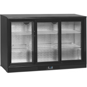Стол холодильный для напитков, 300л, 3 двери-купе стекло, 6 полок, ножки, +2/+10С, чёрный, дин.охл., подсветка, R290a