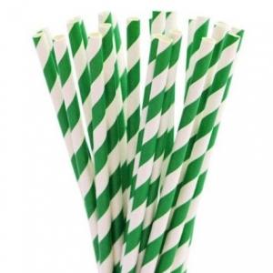 Трубочки для напитков бумажные D 6мм L 197мм полоска зелёный/белый