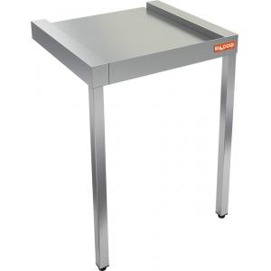 Стол выходной для машин посудомоечных, L0.60м, без борта, 2 ножки, нерж.сталь 430, фронтальный