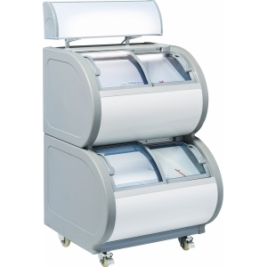 Ларь морозильный импульсных продаж, 254л, 2-х ярусный, стеклянные гнутые наклонные крышки-купе, LED, колеса, канапе, замок, белый+серый