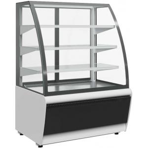Витрина холодильная напольная, горизонтальная, L1.30м, 3 полки, 0/+7С, дин.охл., черная+сталь, стекло фронтальное гнутое, подсветка