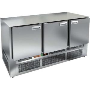 Стол холодильный, GN1/1, L1.49м, без столешницы, 3 двери глухие, ножки, -2/+10С, нерж.сталь, дин.охл., агрегат нижний