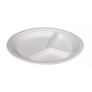 Тарелка 231мм 3-секционная круглая сахарный тростник белая