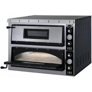 Печь для пиццы электрическая, подовая, 2 камеры  720х720х140мм, 8 пицц D350мм, электромех.управление, двери стекло, под камень, боковины краш.сталь