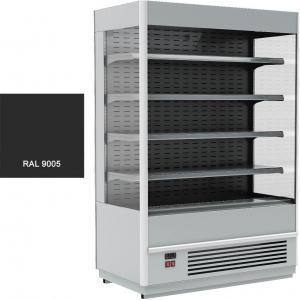 Стеллаж холодильный, пристенный, L0.74м, 4 полки, 0/+7С, дин.охл., черный, фронт открытый, боковины стекло, ночная шторка, подсветка