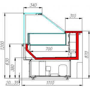 Витрина морозильная напольная, горизонтальная, L1.42м, -18С, стат.охл., венге, стекло фронтальное прямое, подсветка, без боковин