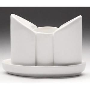 Набор для специй (3 предмета) на подставке (соль, перец, подставка д/зубочисток), фарфор белый