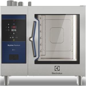 Пароконвектомат газовый бойлерный,  6GN1/1, электронное управление, щуп, автоматическая мойка, магистр.газ