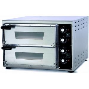 Печь для пиццы электрическая, подовая, 2 камеры  350х410х75мм, 2 пиццы D340мм, электромех.управление, двери стекло, под камень, нерж.сталь