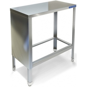 Стол производственный,  300х800х850мм, без борта, открытый, обвязка с 4-х сторон краш., сварной, каркас уголок краш., столеш.нерж.304, фр.панель