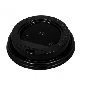 Крышка для стакана 200мл D 80мм пластик черный без носика
