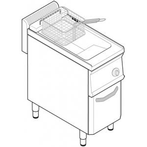 Фритюрница электрическая, 1 ванна 14л, стенд закрытый, 1 корзина, крышка, фильтр