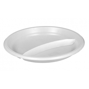 Тарелка 205мм столовая 2-секционная пластик белый