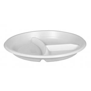 Тарелка 205мм столовая 3-секционная пластик белый