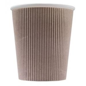 Стакан бумажный для горячих напитков трёхслойный гофрированный 250мл крафт