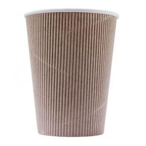 Стакан бумажный для горячих напитков трёхслойный гофрированный 300мл крафт