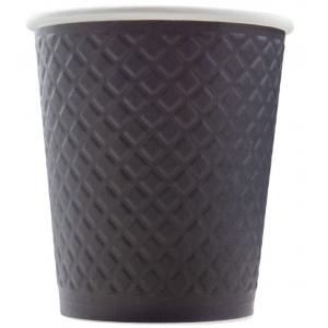 Стакан бумажный для горячих напитков двухслойный гофрированный Waffle Black 250мл