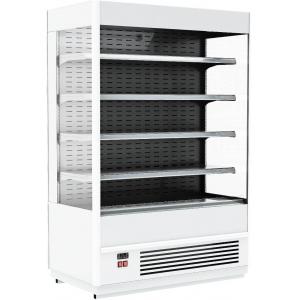 Стеллаж холодильный, пристенный, L1.06м, 4 полки, 0/+7С, дин.охл.,белый, фронт открытый, боковины стекло, ночная шторка, подсветка