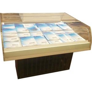 Витрина-бонета холодильная, напольная, горизонтальная, островная, L1.28м, +1/+10С, дин.охл., серая, корчневое основание