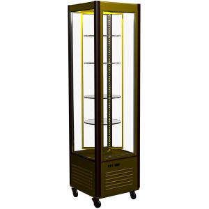 Витрина холодильная напольная, вертикальная, кондитерская, L0.58м, 4 полки вращающиеся, +2/+10С, дин.охл., коричнево-золотой, 4-х стороннее остекление