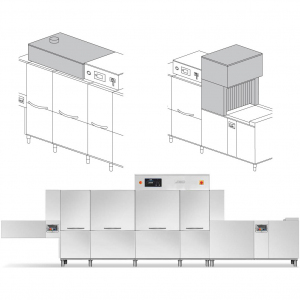 Машина посудомоечная конвейерная, пальцевая, 4200-6360тар/ч, левая, хол.вода, доз.опол.+моющ., сушка 9кВт, рекуператор, 2 части