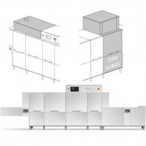 Машина посудомоечная конвейерная, пальцевая, для термоподносов, 4200-6360тар/ч, левая, хол.вода, доз.опол.+моющ., сушка Turbo Blowers 9кВт, рекуперат