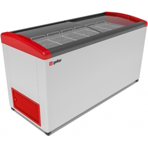 Ларь морозильный, 520л, 2 крышки стеклянные гнутые раздвижные, -12/-25С, 6 корзин, колеса, белый, R134a, замок, отделка красная