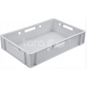 Ящик L 60см w 40см h 12см перфорированные стенки сплошное дно, пластик белый